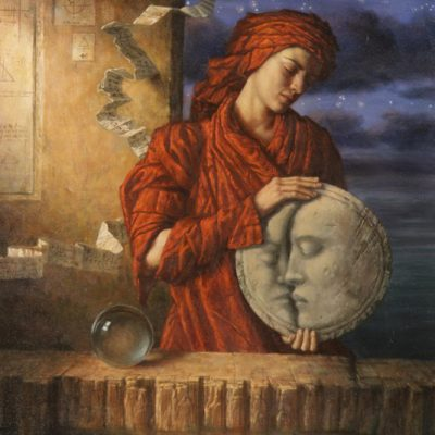 Jake Baddeley - Drawing Down the Moon - oil on canvas - 90 x 70 cm - 1999 - SOLD - available as limited edition art print