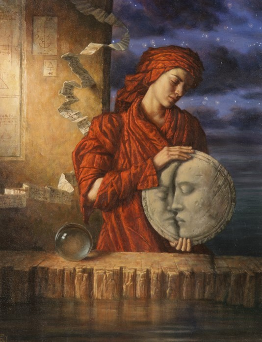 Jake Baddeley - Drawing Down the Moon - oil on canvas - 90 x 70 cm - 1999 - SOLD