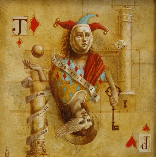 Juggler and Priestess - oil on wood panel - 35 x 35 cm - 2008 - SOLD