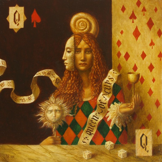 Queen of Cups 2 - oil on wood panel - 35 x 35 cm - 2008 - SOLD