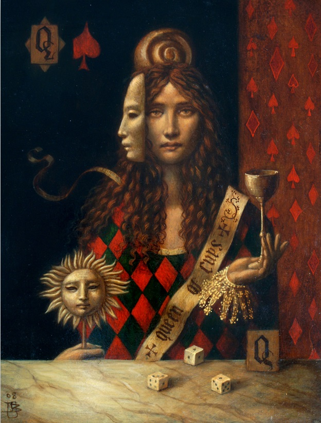 Queen of Cups 4 - oil on wood panel - 32 x 20 cm - 2008 - SOLD