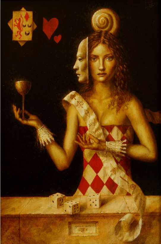 Queen of Hearts 3 - oil on wood panel - 32 x 20 cm - 2008 - SOLD