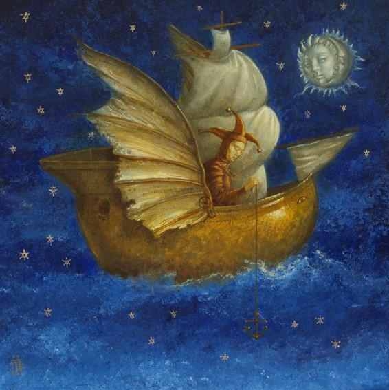 Night Fishing - oil on wood panel -40 x 40 cm - 2009