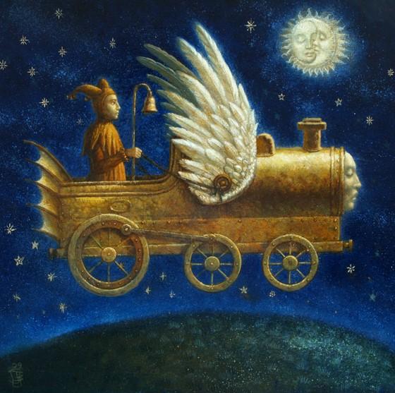 Sleepy Train 2 - oil on wood panel - 40 x 40 cm - 2009