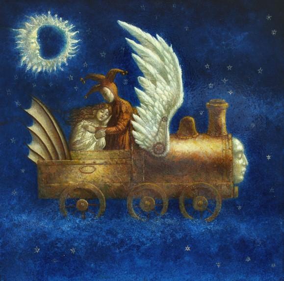 Sleepy Train - oil on wood panel - 40 x 40 cm - 2009