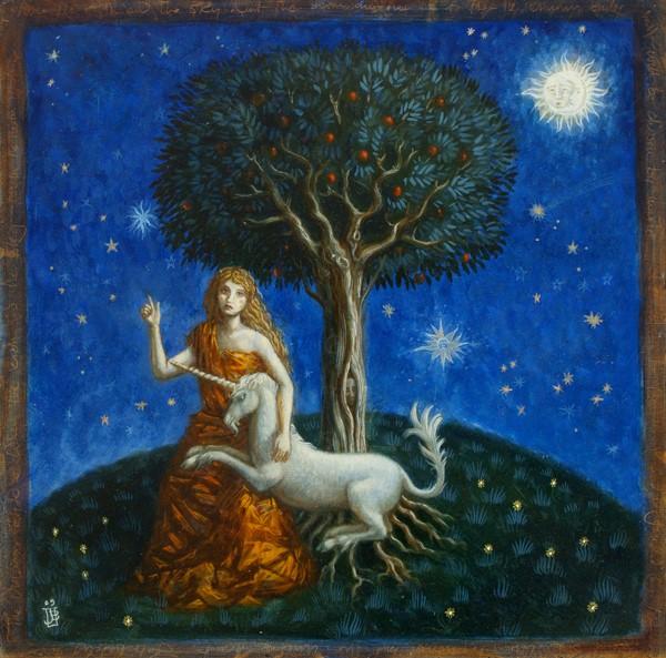 The Unicorn's Bride - oil on wood panel - 40 x 40 cm - 2009