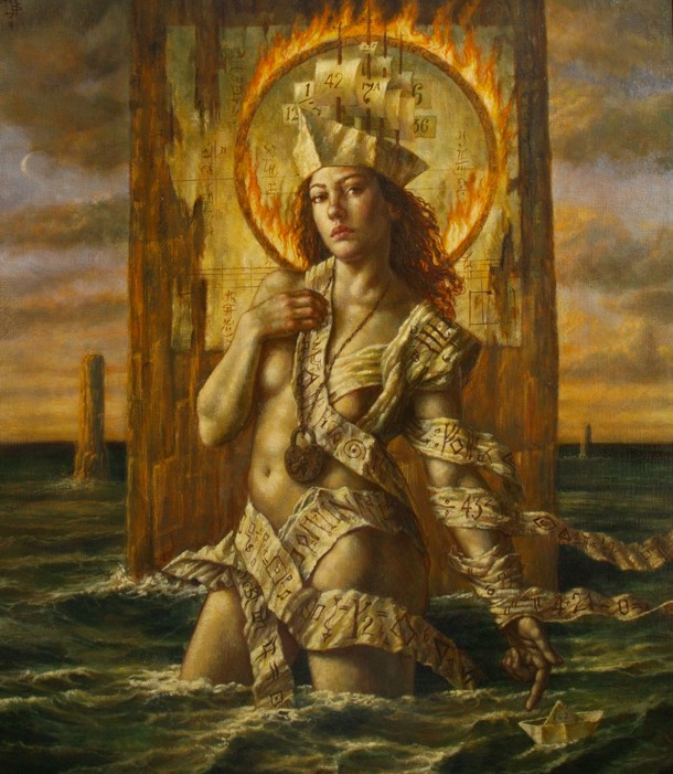 Jake Baddeley - Fire and Water - oil on canvas - 90 x 70 cm - 2011 - SOLD