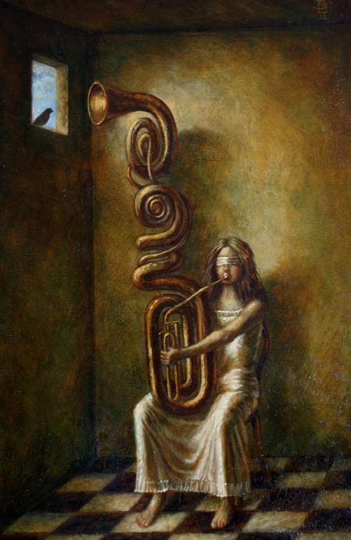 Duet - oil on wood panel - 50 x 20 cm - 2012 - SOLD