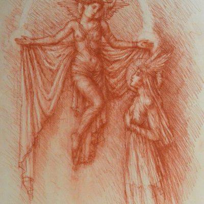 Jake Baddeley - Annunciation II - pastel on paper - 40 x 50 cm - 2018