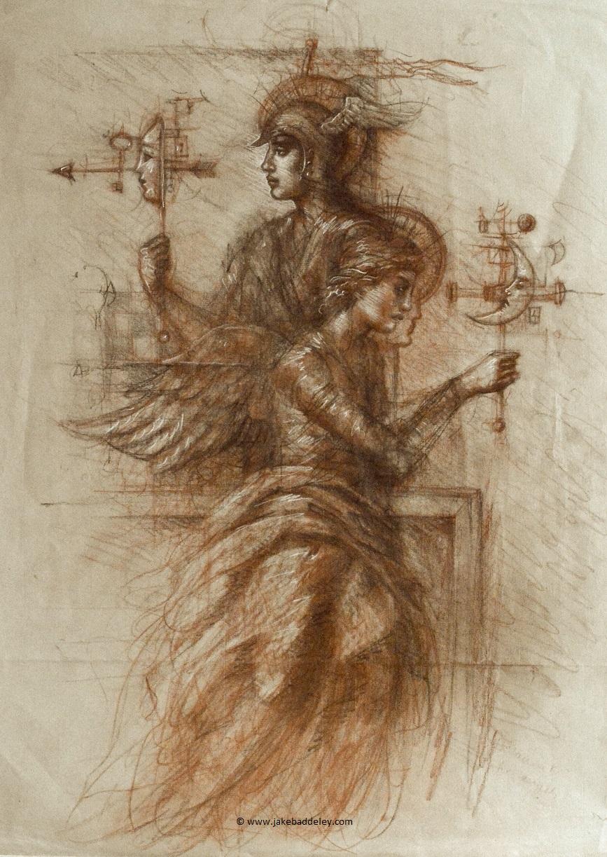 Jake Baddeley - Experiment for Angels II - chalk on paper - 65 x 50 cm - 2018