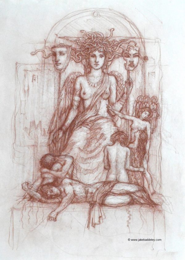 Jake Baddeley - Muse - Chalk on paper - 65 x 50 cm - 2018
