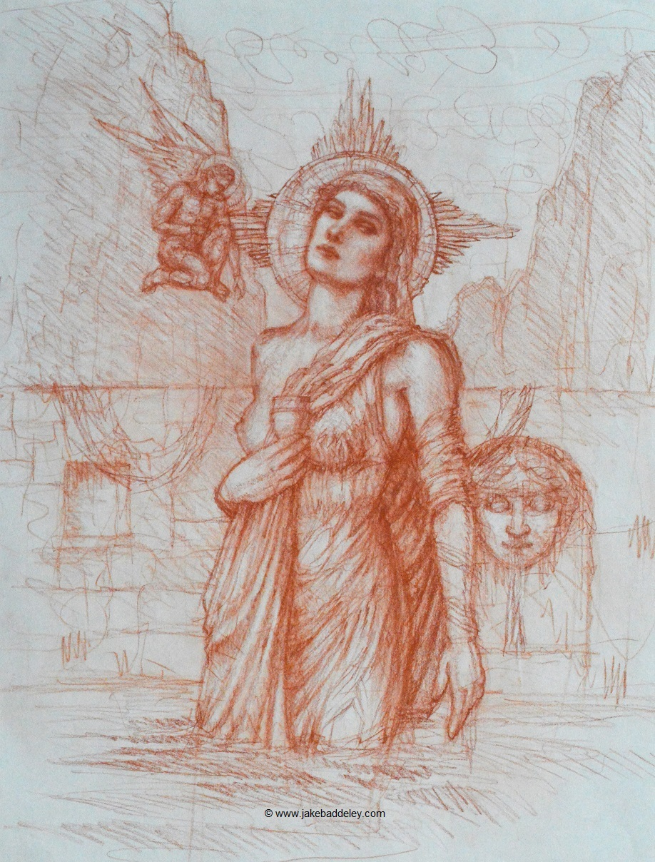 Jake Baddeley - The Fountain - chalk on paper - 65 x 50 cm - 2018