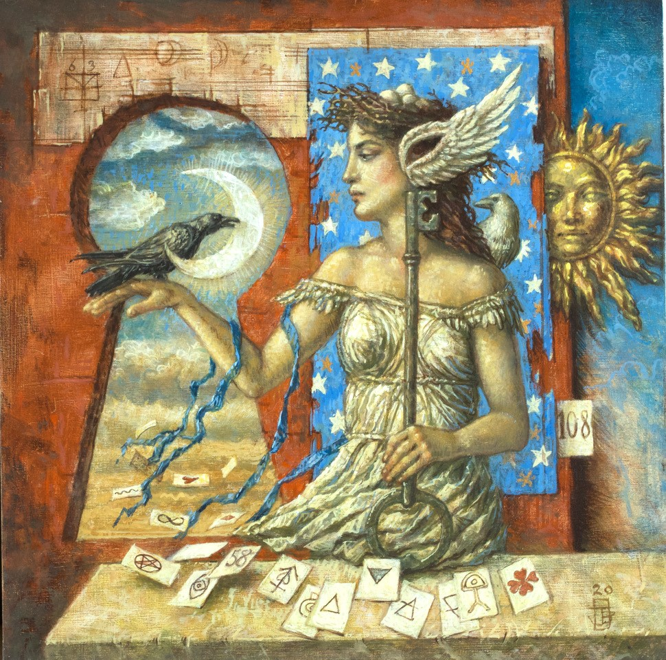 Jake Baddeley - The Raven's Gift - oil on wood - 30 x 30 cm - 2020 - commission