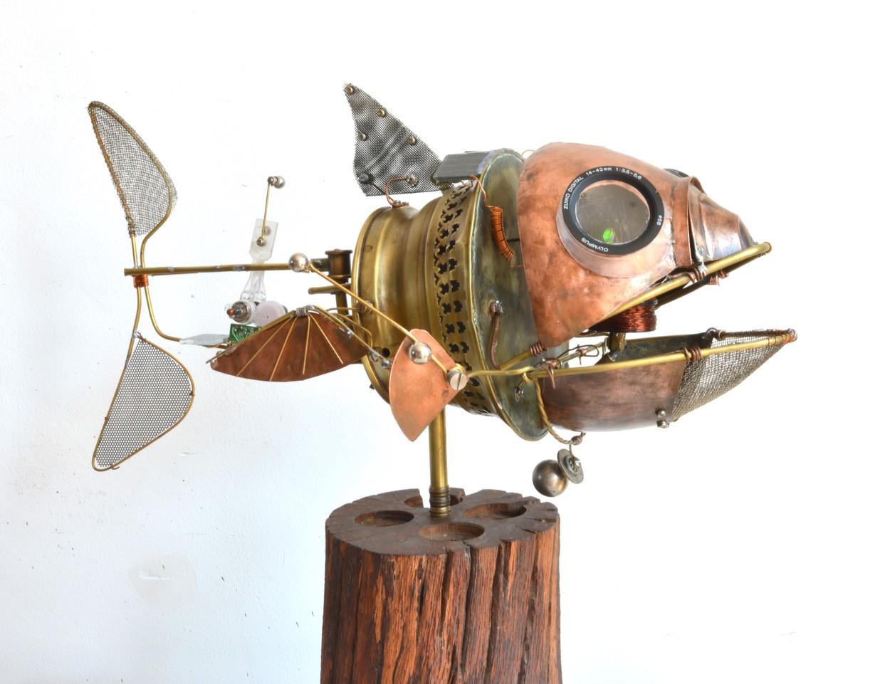 """Jake Baddeley - """"Lekker Bekky"""" - scrap metal on wood - 2021"""