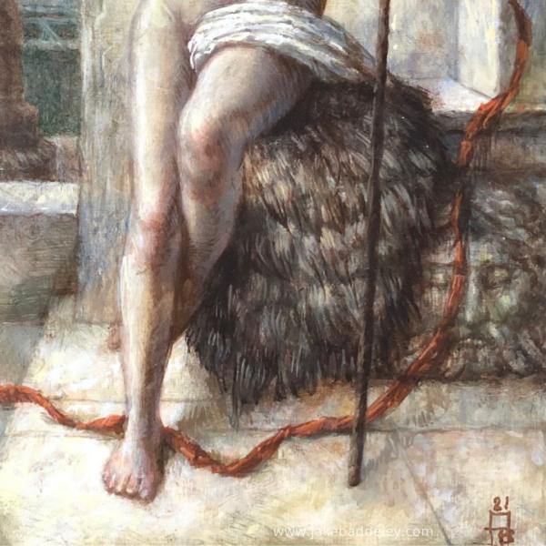 Jake Baddeley - Lifeline - oil on wood panel - 32 x 27,5 cm - 2021 - detail 1
