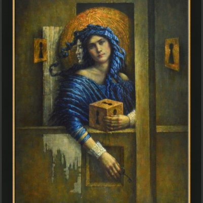 Jake Baddeley - Out of the Box - oil on wood panel - 80 x 60 cm - 2020 - framed