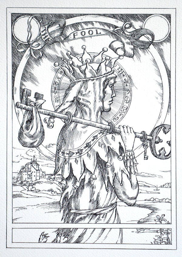 Jake Baddeley Tarot - 0 - The Fool - ink on paper - 2020