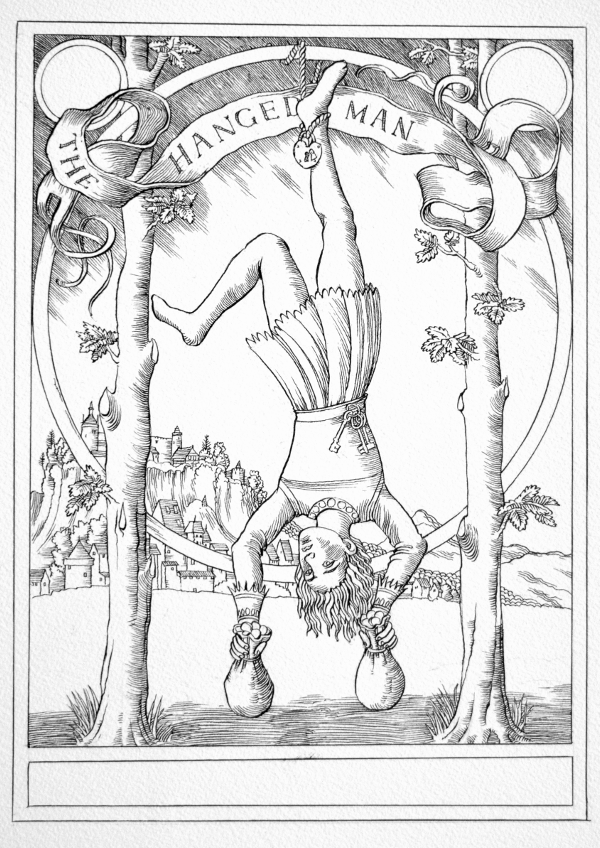 Jake Baddeley Tarot - 12 - The Hanged Man - ink on paper - 2020