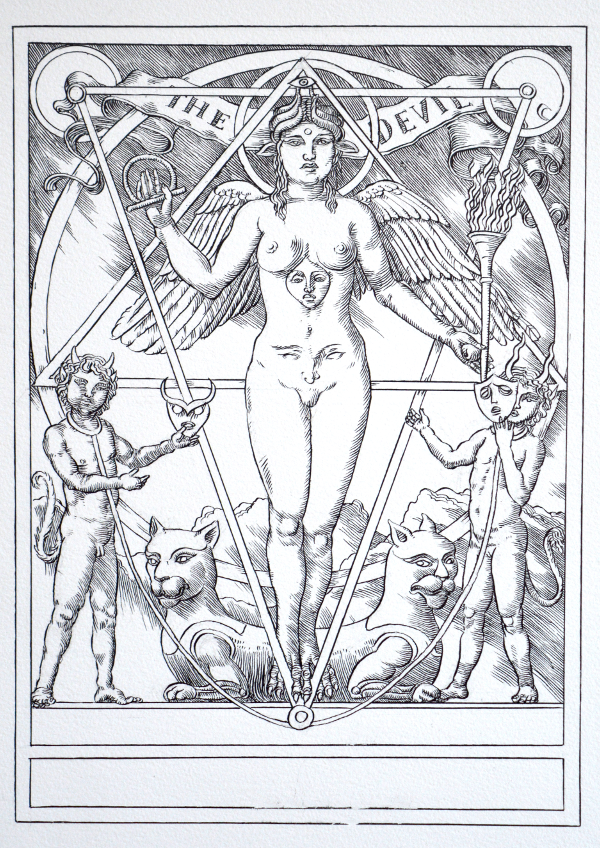 Jake Baddeley Tarot - 15 - The Devil - ink on paper - 2020