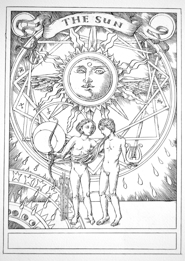 Jake Baddeley Tarot - 19 - The Sun - ink on paper - 2020