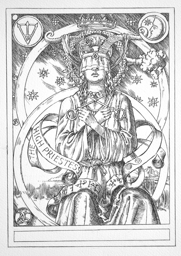 Jake Baddeley Tarot - 2 - The High Priestess - ink on paper - 2020