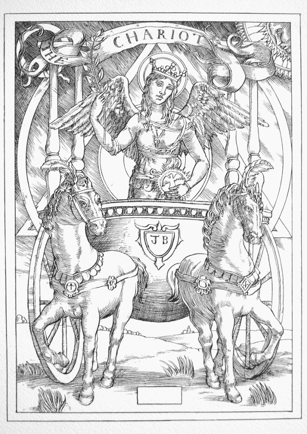 Jake Baddeley Tarot - 7 - The Chariot - ink on paper - 2020
