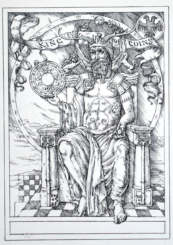 Jake Baddeley Tarot - King of Coins - ink on paper - 2020