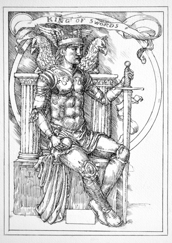 Jake Baddeley Tarot - King of Swords - ink on paper - 2020